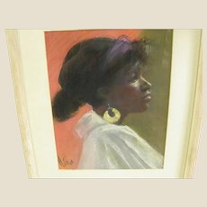 Gorgeous Signed Pastel Portrait of Woman