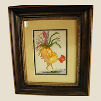 Cheery Double Matted Signed Watercolor of Rooster