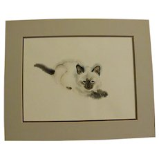 Fabulous Signed Watercolor of Siamese Cat