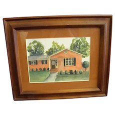 Charming Little Watercolor of 1940-50s Stucco Cottage