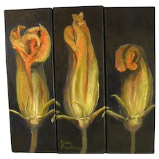 Squash Blossom Triptych Oils on Canvas