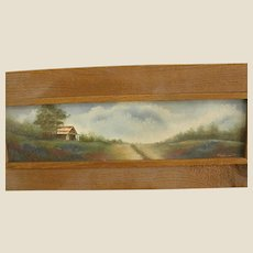 Rustic Framed Painting of Texas Country Cabin with Bluebonnets
