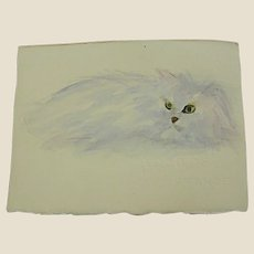 Wonderful Small Watercolor of Longhaired Cat