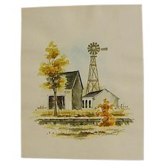 Signed Watercolor Country Barn, Stable and Windmill