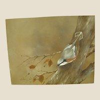Charming Acrylic on Masonite Bird on a Winter Branch