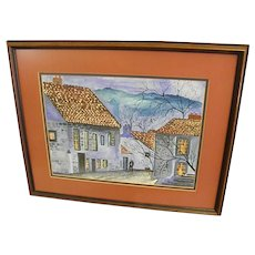 Winter Village Signed, Double Matted Water Color