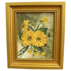 Cheerful Little Oil Painting of Yellow Flowers - Red Tag Sale Item
