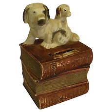 Adorable 1950s Bisque Bank Dogs Sitting on Books