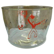 Wonderful 1930s Glass Ice Bucket with Red and Blue Sailors