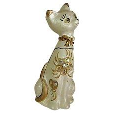 Sassy Bejeweled Atomic Cat Pill Trinket Box
