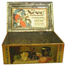 Unusual 1920s French Caramel Tin with Lock and Key
