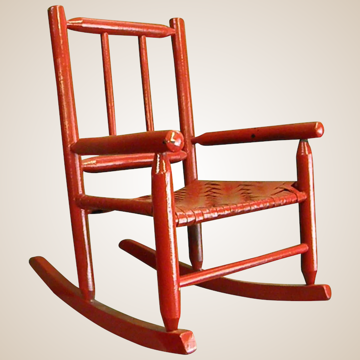 Fantastic Darling Red Painted Childs Rocking Chair Ncnpc Chair Design For Home Ncnpcorg