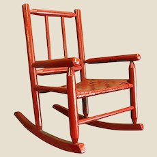 Darling Red Painted Child's Rocking Chair