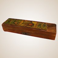 Darling Old Wooden Lithograph Child's Pencil Box