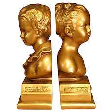 Charming Gold Painted Plaster Bookends