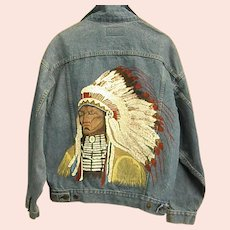 Classic Levi's Hand Painted Native American Southwestern Denim Jacket