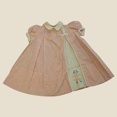 1950s Custom Made Lylian Little Girl's Pink Tiny Checked Dress