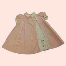 1950s Custom Made Lylian Little Girl's Pink Tiny Checked Dress