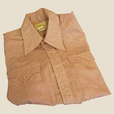 Vintage Red Check Western Cut Man's Shirt