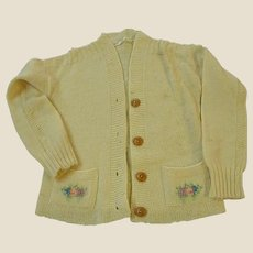Sweet 1950s Hand Decorated Child's Wool Sweater