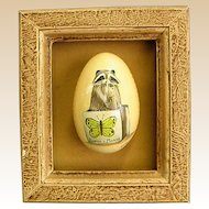 Hand Painted Signed Framed Goose Egg from Neiman Marcus