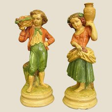 Charming Pair of Borghese Plaster Figures – Boy and Girl