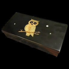 Rare Couroc Vanity or Trinket Box with Inlaid Owl