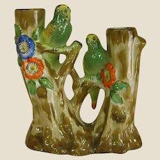 1950s Goldcastle Green Parakeet Double Vase