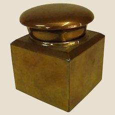 Old Brass Inkwell with Original Insert