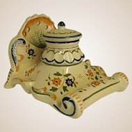 Wonderful Hand Decorated French Imperial Inkwell with Pen Rest