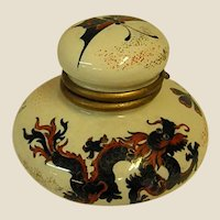 Interesting Old Hand Decorated French Inkwell with Chinese Motif