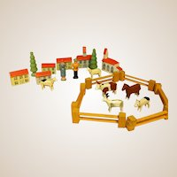 Darling Miniature Erzgebirge Putz Farm Village with Box