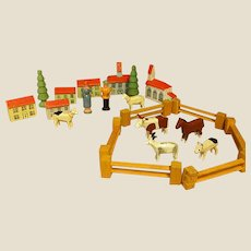 Darling Miniature Erzgebirge Putz Farm Village with Box