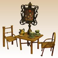 Dollhouse Rattan Table and Chairs with Wall Art