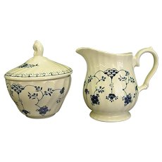 Graceful Churchhill Finlandia Pattern Creamer and Lidded Sugar