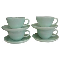 Set of Four 1950s Fire King Oven Ware Turquoise Cups and Saucers