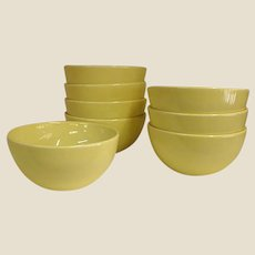 Russel Wright Yellow Casual China Coupe Soup Bowls by Iroquois China Co.