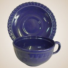 Rare Colorful 1930s Vistosa Blue Cup and Saucer by Taylor, Smith, and Taylor