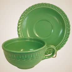 Rare Colorful 1930s Vistosa Green Cup and Saucer by Taylor, Smith, and Taylor