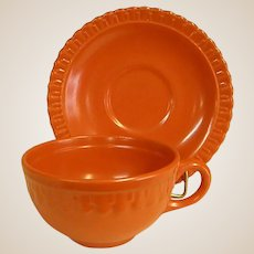 Rare Colorful 1930s Vistosa Mango Red Cup and Saucer by Taylor, Smith, and Taylor