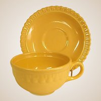 Rare Colorful 1930s Vistosa Yellow Cup and Saucer by Taylor, Smith, and Taylor