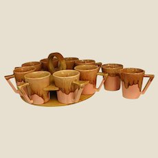 Rare 1950s Winart Pottery Drip Glaze Coffee Set