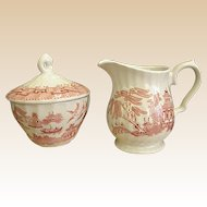 Royal Wessex Willow Rosa Creamer and Sugar