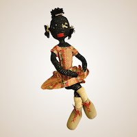 Old Very Unusual Poseable Crochet Black Americana Doll