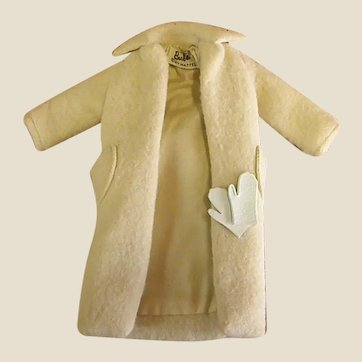 Wonderful 1960 Barbie Belted Winter White Coat with Gloves