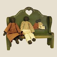 Sweet Hand-painted Doll Bench with Pair of Cloth Black Dolls