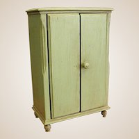 Darling Old Painted Wood Doll Wardrobe