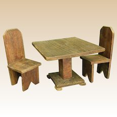Adorable Homemade Primitive Doll Table and Chairs