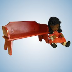 Cute Red Painted Wooden Doll Bench