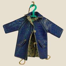 1965 Mattel Blue Leatherette Coat for Barbie Sister Tutti
